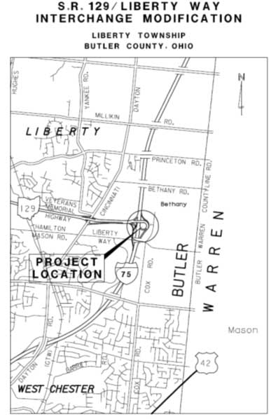 Map of Butler County Engineer's Office - SR 129/Liberty Way
